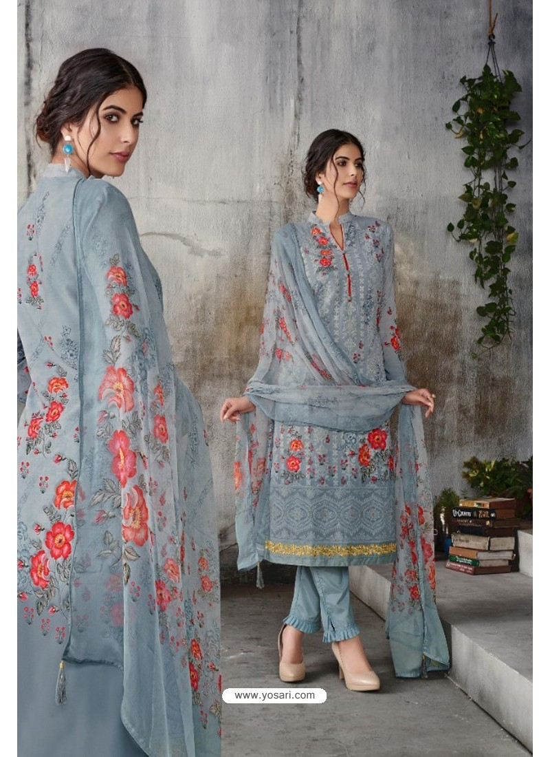 Grey Georgette Digital Printed Straight Suit