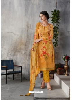 Yellow Georgette Digital Printed Straight Suit