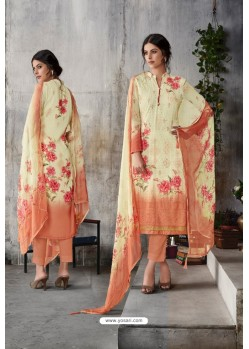 Cream Georgette Digital Printed Straight Suit