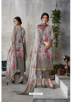 Light Grey Georgette Digital Printed Straight Suit