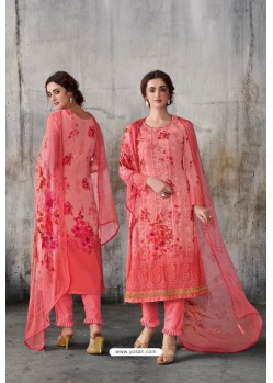 Peach Georgette Digital Printed Straight Suit