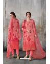 Peach Georgette Digital Printed Straight Suit