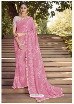 Pink Georgette Silk Party Wear Saree