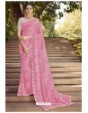 Pink Georgette Silk Party Wear Saree