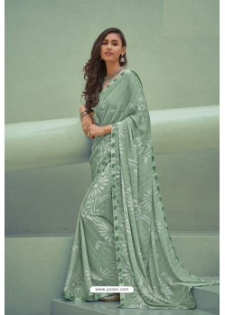 Green Georgette Silk Party Wear Saree