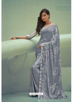 Grey Georgette Silk Party Wear Saree