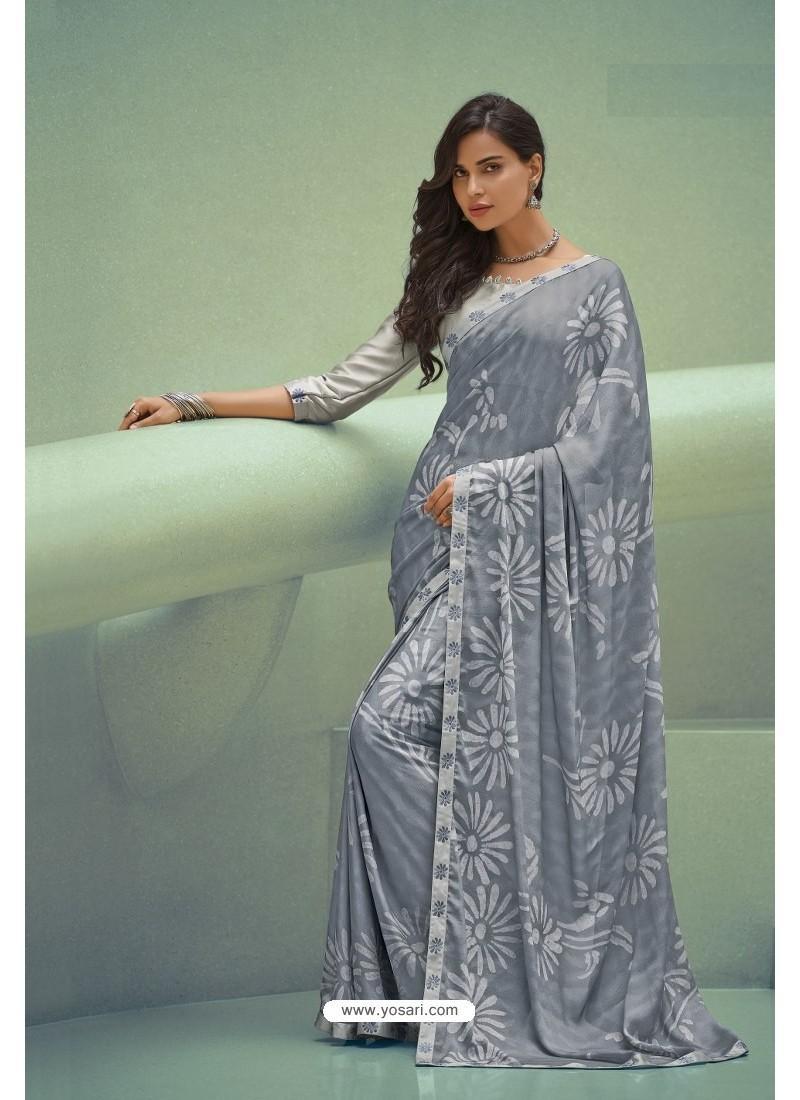 Grey Georgette Silk Party Wear Saree