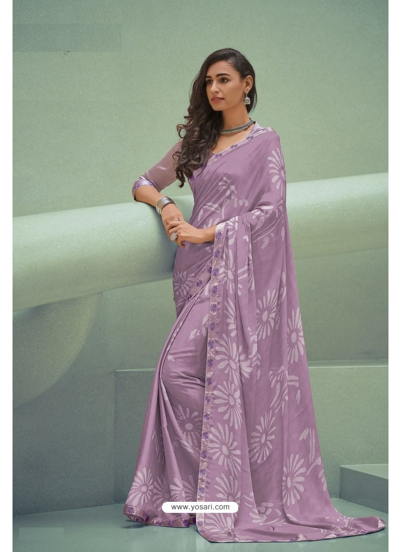 Mauve Georgette Silk Party Wear Saree