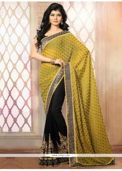 Black And Mustard Faux Chiffon Designer Saree