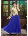 Amazing Blue Soft Net Designer Gown