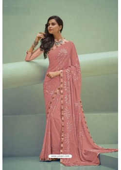 Peach Georgette Silk Party Wear Saree
