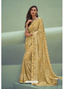 Yellow Georgette Silk Party Wear Saree