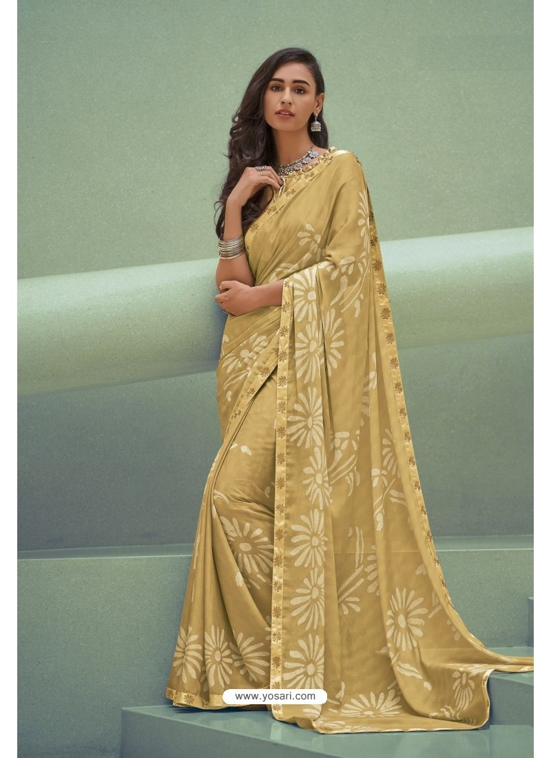 Yellow Georgette Silk Party Wear Saree