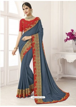 Grey Vichitra Silk Embroidered Designer Saree
