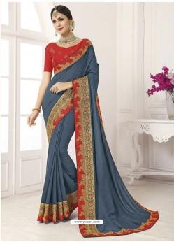 Grey Vichitra Silk Embroidered Designer Saree