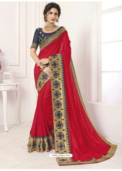 Red Vichitra Silk Embroidered Designer Saree