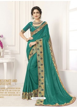 Teal Vichitra Silk Embroidered Designer Saree