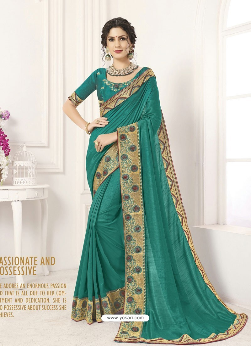 Teal Vichitra Silk Embroidered Designer Saree