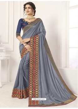 Pretty Grey Vichitra Silk Embroidered Designer Saree