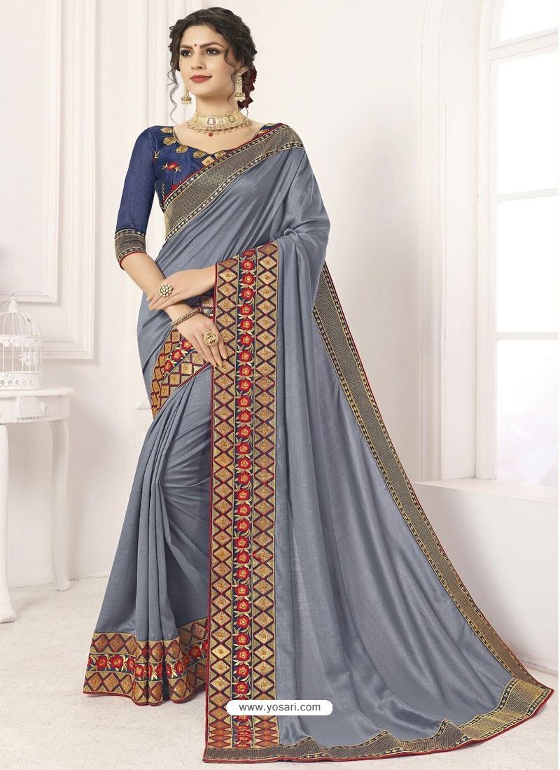 Pretty Grey Vichitra Silk Embroidered Designer Saree
