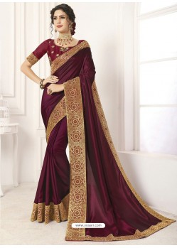 Maroon Vichitra Silk Embroidered Designer Saree