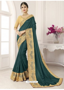 Dark Green Vichitra Silk Embroidered Designer Saree