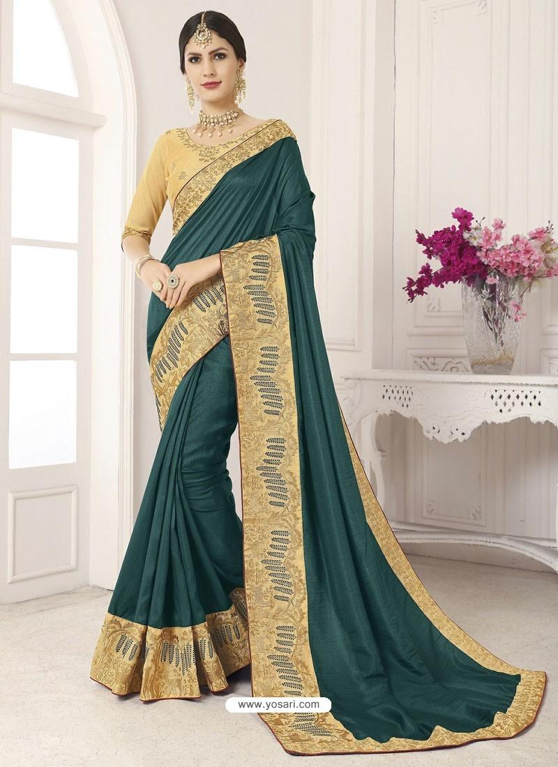Dark Green Vichitra Silk Embroidered Designer Saree