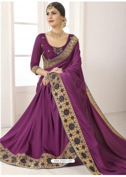 Purple Vichitra Silk Embroidered Designer Saree