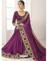 Purple Vichitra Silk Embroidered Designer Saree