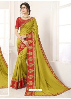 Mehendi Vichitra Silk Embroidered Designer Saree