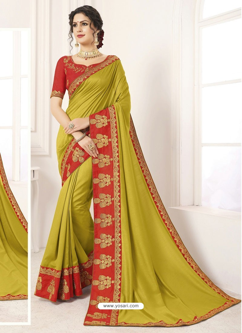 Mehendi Vichitra Silk Embroidered Designer Saree