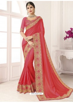 Crimson Vichitra Silk Embroidered Designer Saree