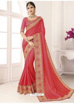 Crimson Vichitra Silk Embroidered Designer Saree