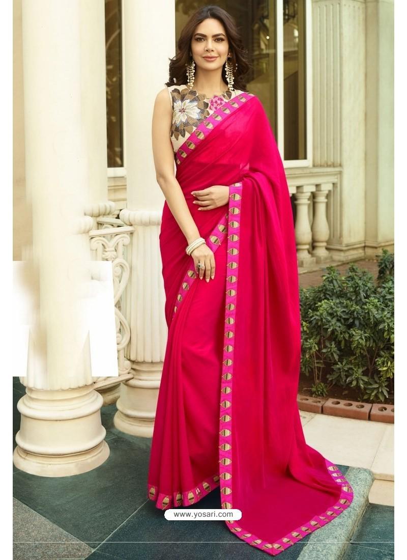 Rani Georgette Silk Designer Saree