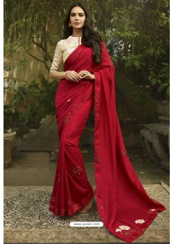 Red Georgette Silk Designer Saree