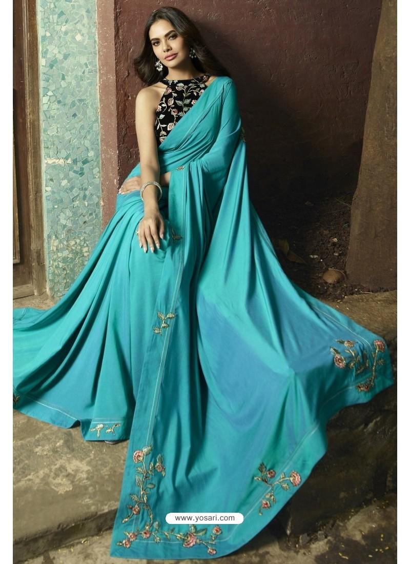 Turquoise Georgette Silk Designer Saree