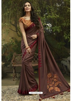Brown Georgette Silk Designer Saree