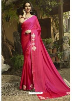 Fuchsia Georgette Silk Designer Saree