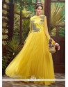 Splendid Yellow Soft Net Designer Gown