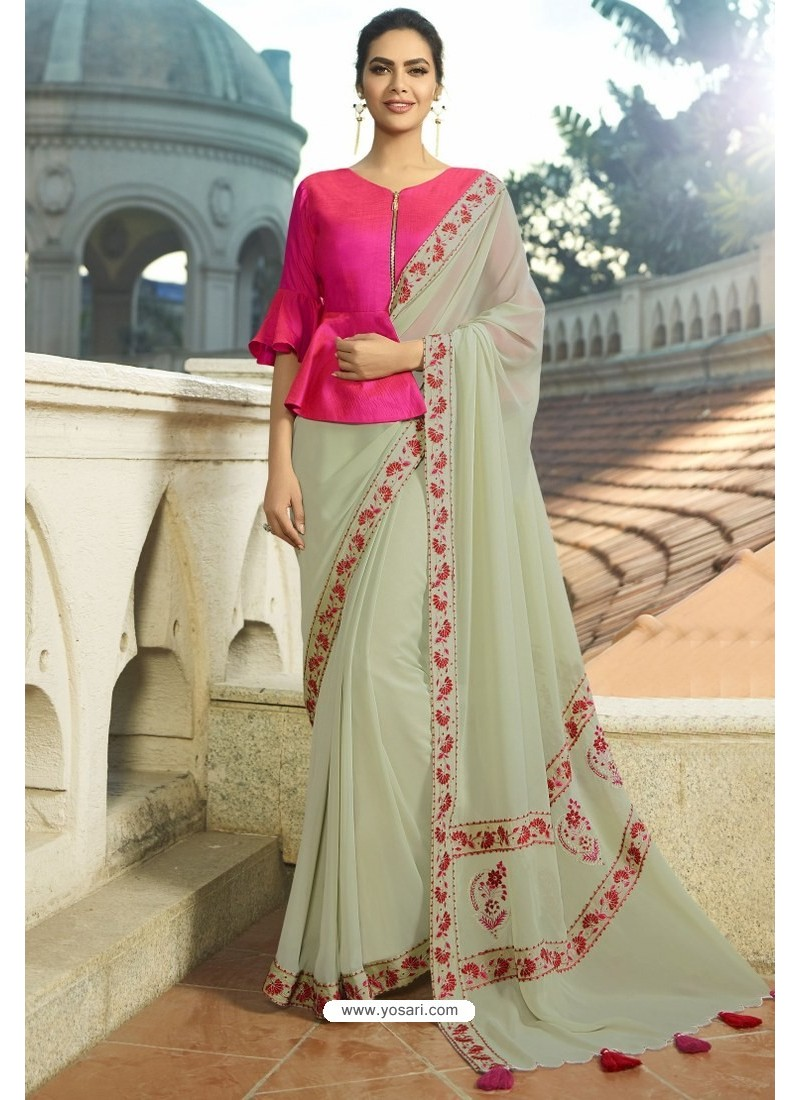 Light Beige Georgette Silk Designer Saree