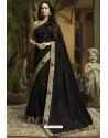 Black Georgette Silk Designer Saree