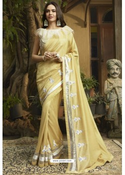 Cream Georgette Silk Designer Saree