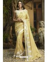 Cream Georgette Silk Designer Saree