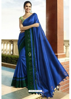 Royal Blue Georgette Silk Designer Saree