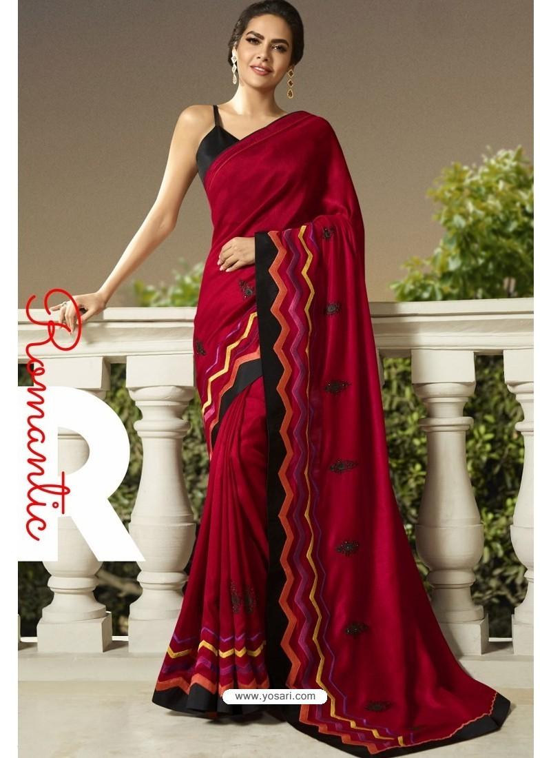 Maroon Georgette Silk Designer Saree