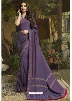 Violet Georgette Silk Designer Saree