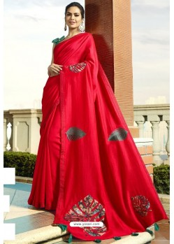 Beautiful Red Georgette Silk Designer Saree