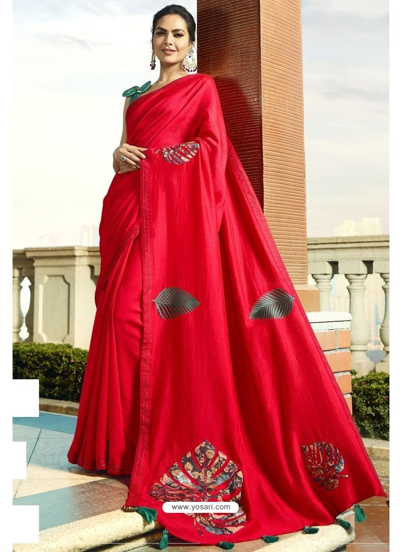Beautiful Red Georgette Silk Designer Saree