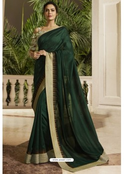 Dark Green Georgette Silk Designer Saree