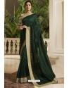 Dark Green Georgette Silk Designer Saree